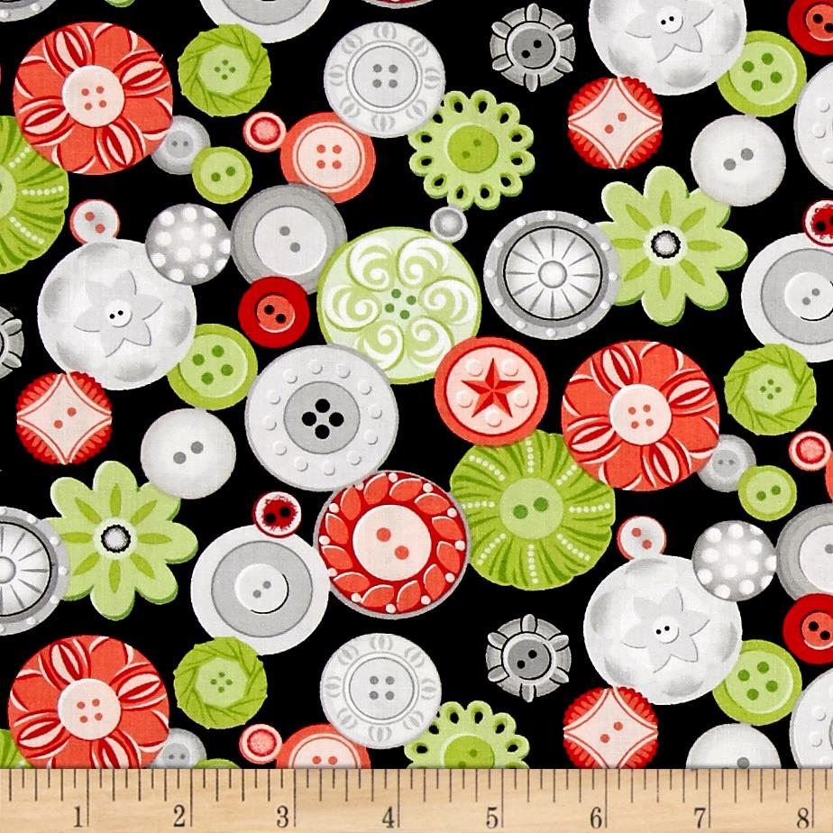 Sewing room buttons black discount designer fabric for Cheap sewing fabric