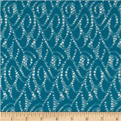Polyester Crochet Lace Solid Teal