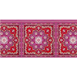 Rayon Voile Scarf Panel Red/Orchid