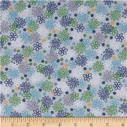 Catalina Flannel Daisies Grey