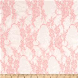 Floral Stretch Lace Pastel Pink/Silver Fabric