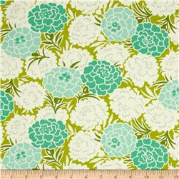 Heather Bailey Up Parasol Mum Toss Chartreuse Fabric