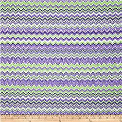 A.E. Nathan Chevron Purple/White/Green Fabric