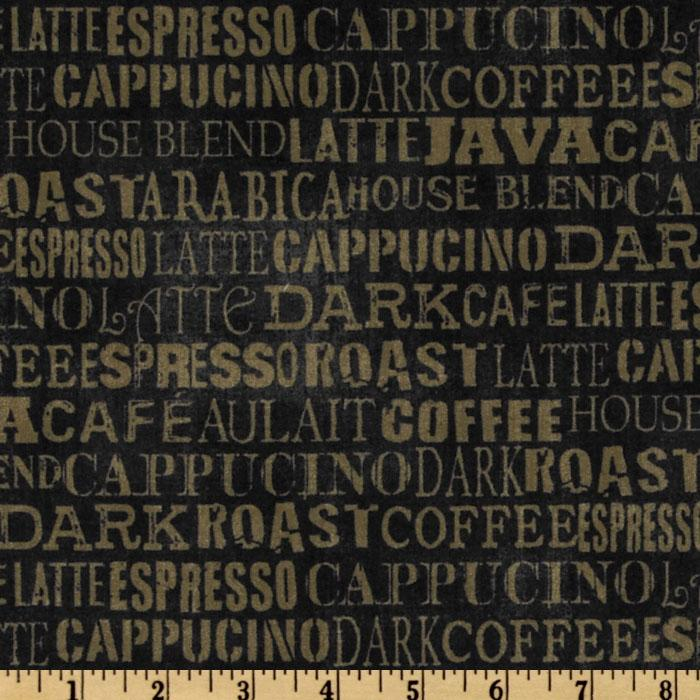 Coffee Break Words Allover Black