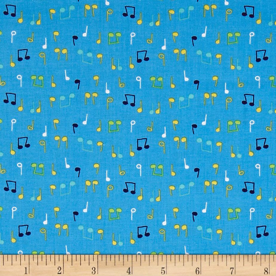 Nursery rhymes musical notes blue discount designer for Nursery fabric sale