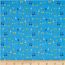 Nursery Rhymes Musical Notes Blue