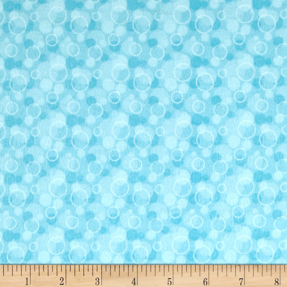 Flannel Tossed Bubbles Aqua Fabric