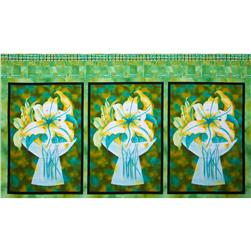 "Earth Dancing 24"" Floral Panel Multi/Green"