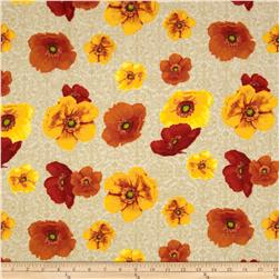 Windflower Flannel Tossed Poppies Creme