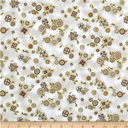 Esmeralda Small Floral Metallic Linen Natural