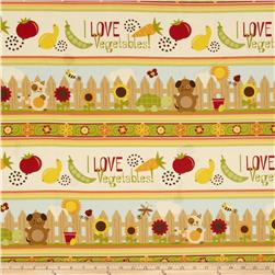 Garden Patch Vegetables Repeating Stripe Ivory Fabric
