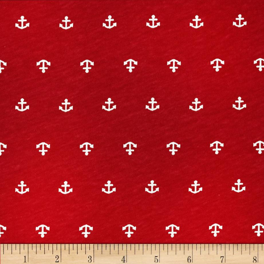 Nautical Collection Jersey Knit Anchor Red/White