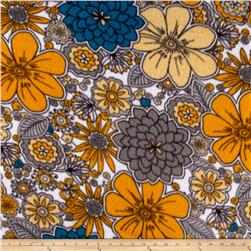 Fleece Print Flowers Yellow/Grey