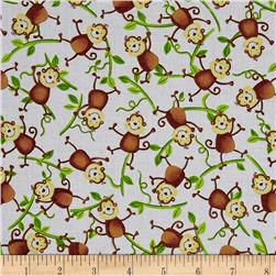 Jungle Camp Monkeys On Vines White
