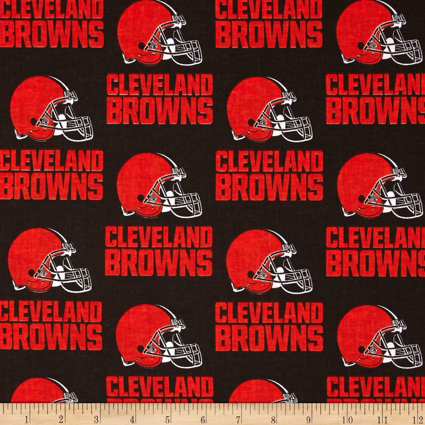 NFL Cotton Broadcloth Cleveland Browns Orange/Brown Fabric by Fabric Traditions in USA