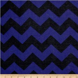 Stretch Rayon Jersey Knit Chevron Royal/Black