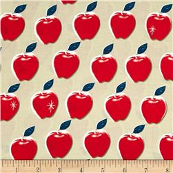 Cotton + Steel Picnic Apples Red