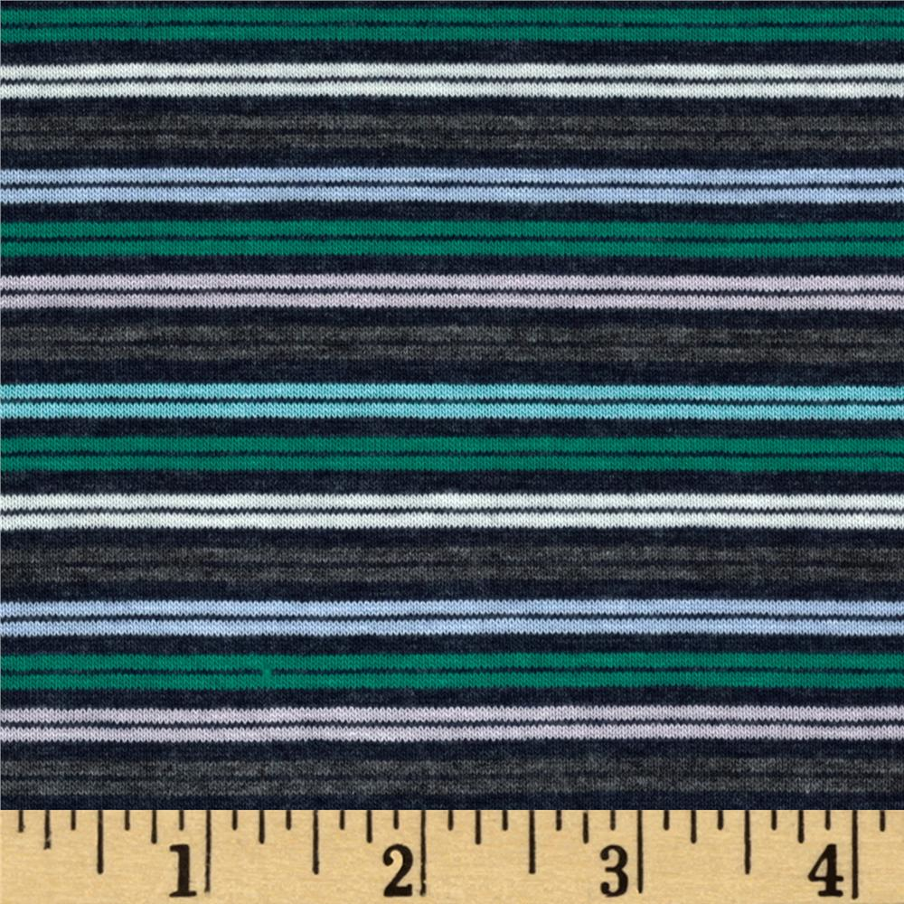 Designer Stretch Rayon Jersey Knit Stripes Multi