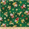 Seasons Greetings Santa & Reindeer Green