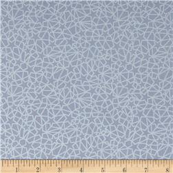 Celestial Metallic Graphic Stars Grey/Silver Fabric