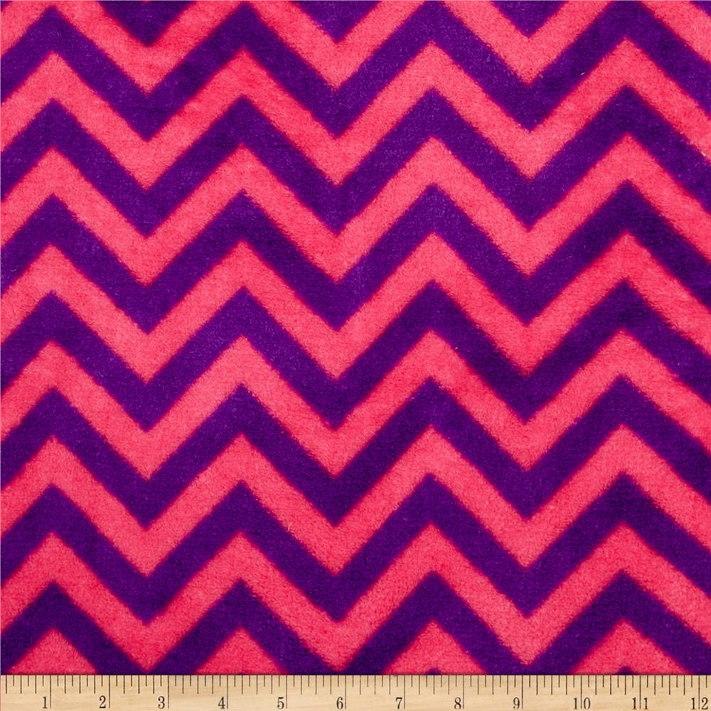 Plush Coral Fleece Chevron Fuchsia/Amethyst