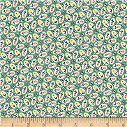 Aunt Grace Simpler Sampler Multi Flowers in Oval Green