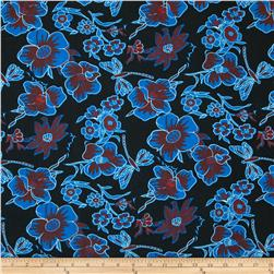 Poly Challis Floral Royal/Red