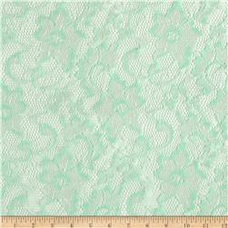Shimmer Stretch Lace Floral Mint Fabric
