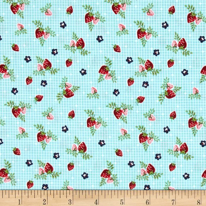 Riley Blake Vintage Market Strawberries Aqua