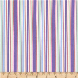 Piggy Pirouette Bar Code Stripe Periwinkle Fabric