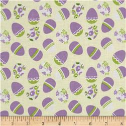 Riley Blake Holiday Banners Easter Eggs White Fabric