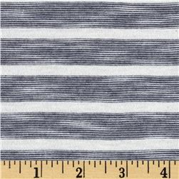 Designer Yarn Dyed Slub Jersey Knit Stripes Dark Blue/Off White