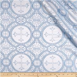 Clergy Brocade White/Blue