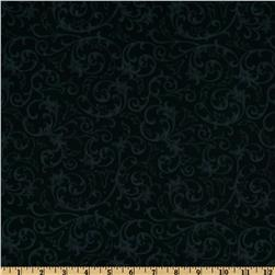 Baroque 108'' Quilt Backing Flourish Black Fabric