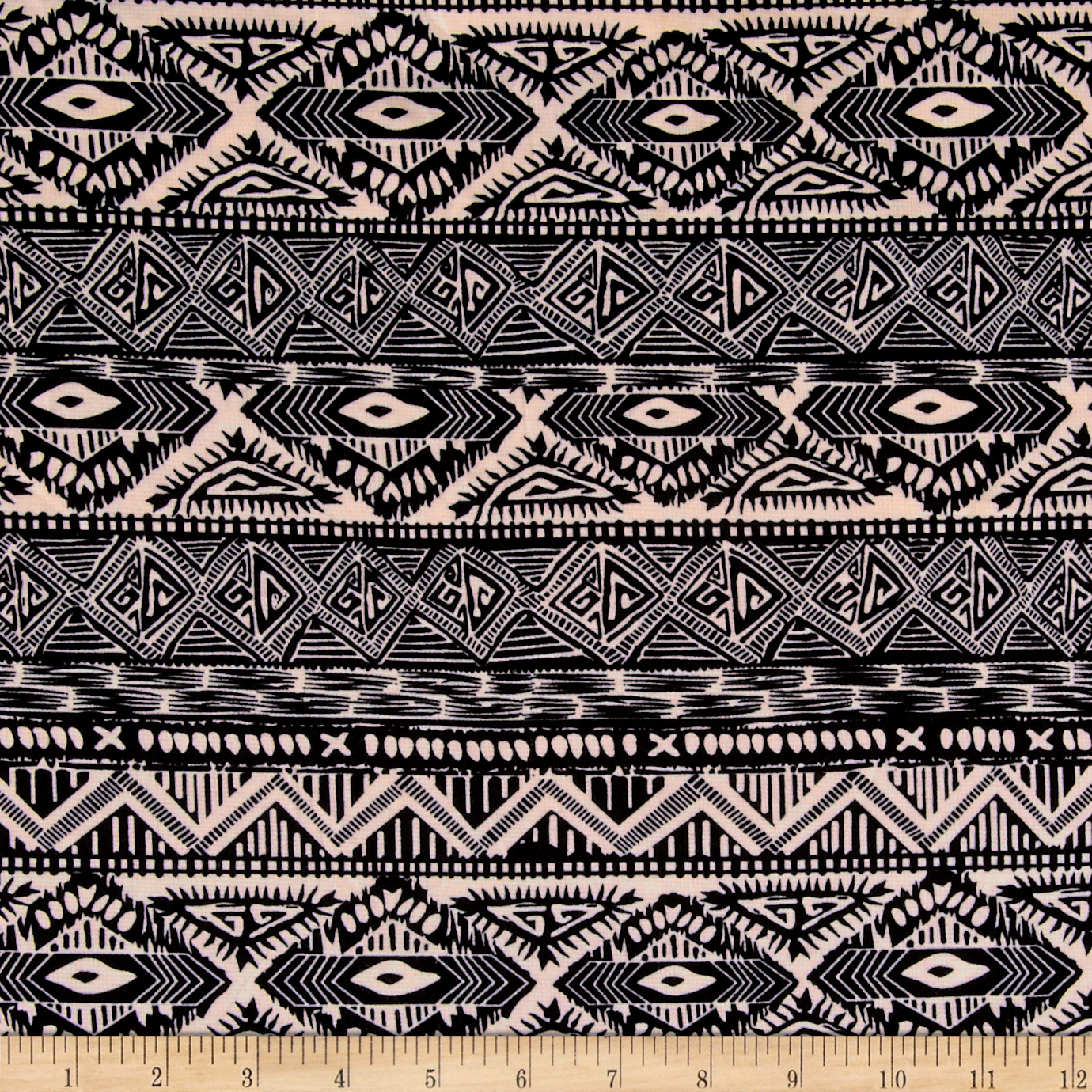 Ponte De Roma Geometric Tribal Stripe Black/ivory Fabric