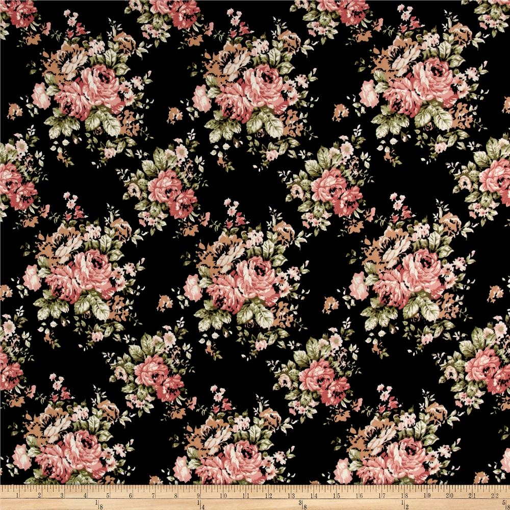 ITY Brushed Jersey Knit Flowers Black/Pink/Green Fabric