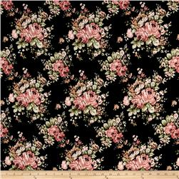 ITY Brushed Jersey Knit Flowers Black/Pink/Green