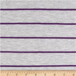 Designer Stretch Yarn Dyed Jersey Knit Stripes Grey/Purple