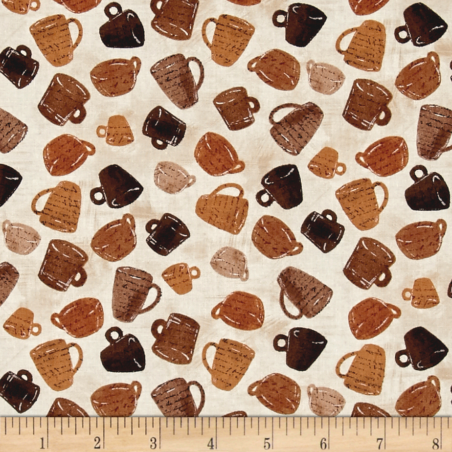 Timeless Treasures Cafe Au Lait Mini Coffee Cups Brown Fabric 0536407