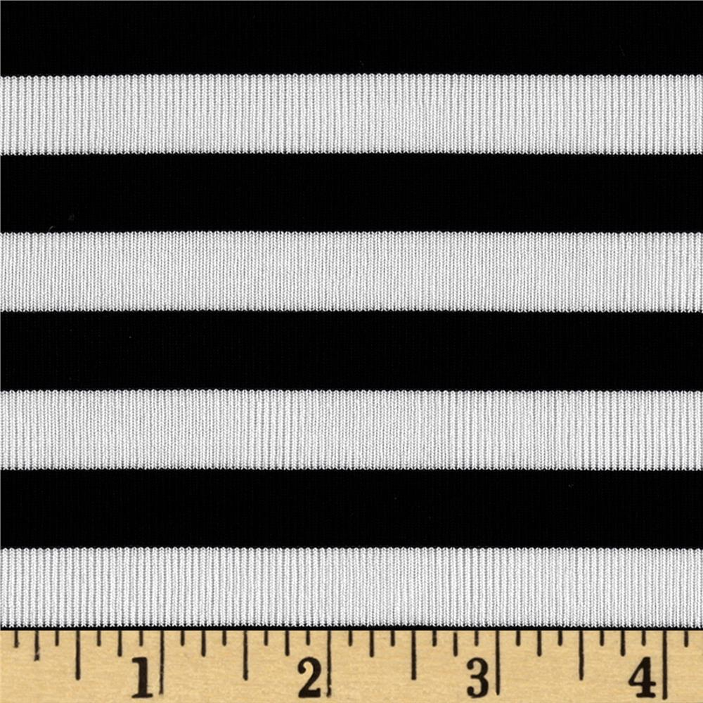 Stretch Slinky Knit Stripes Black/White