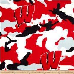 University of Wisconsin Fleece Camo Red Fabric