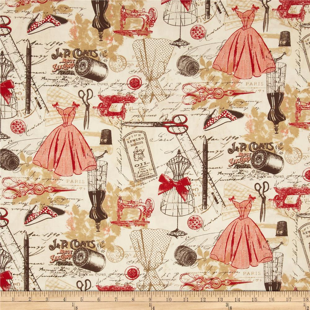 Timeless Treasures Vintage Sewing Red Discount Designer