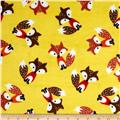 Minky Softie Foxes Yellow