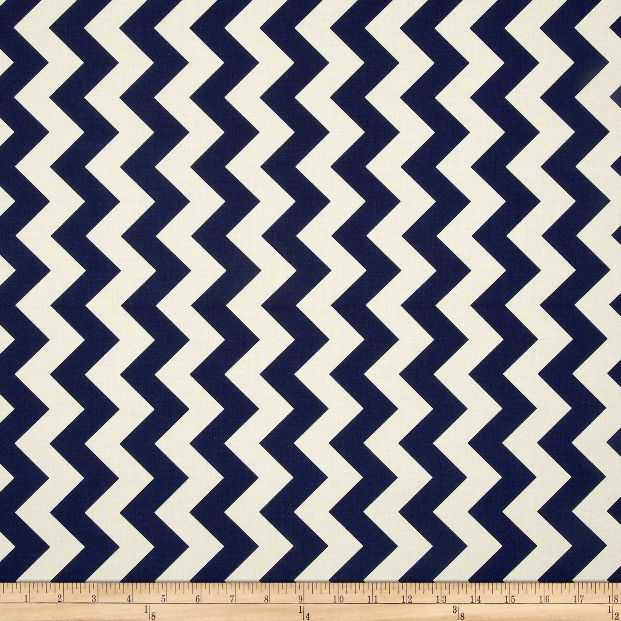 Riley Blake Le Creme Basics Chevron Navy/Cream Fabric