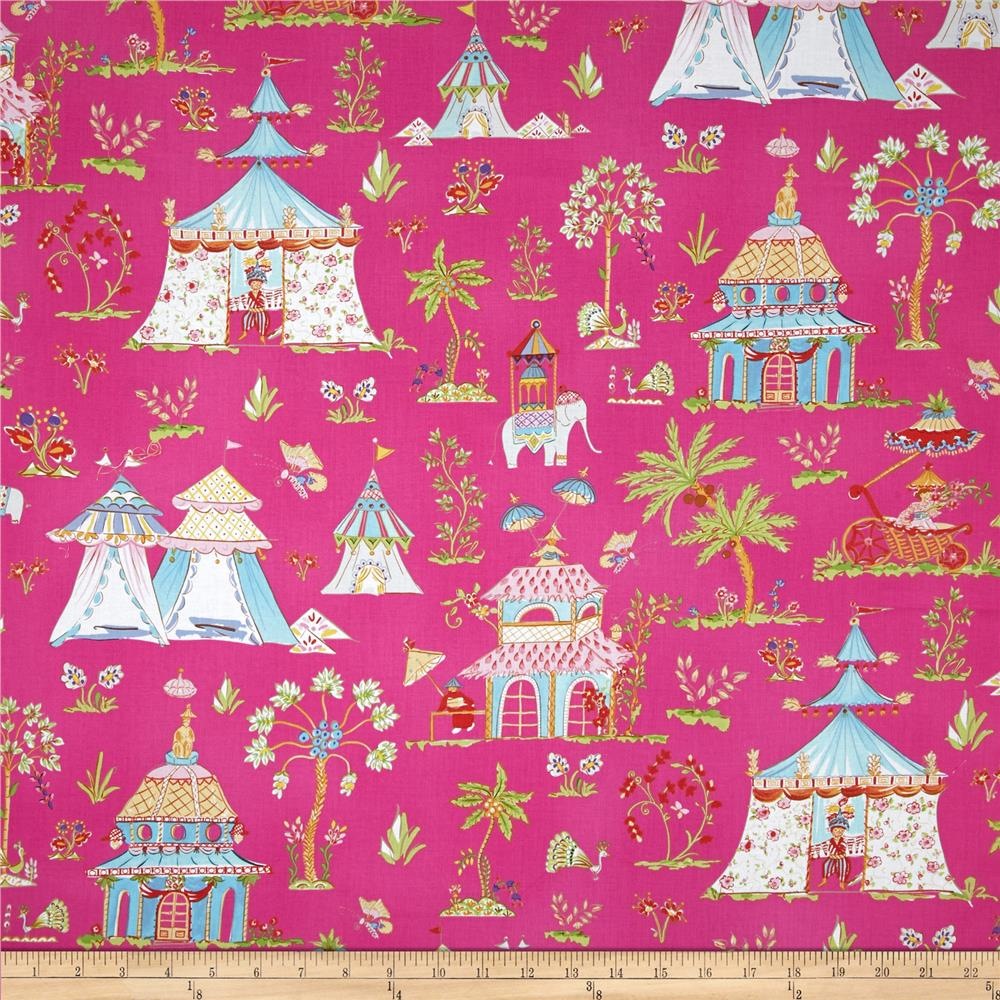 Haute girls toile pink discount designer fabric for Haute design