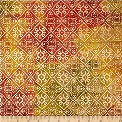 Indian Batik Tribal Diamond Metallic Yellow/Orange