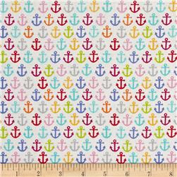 Timeless Treasures Sunkissed Swimmers Anchors White