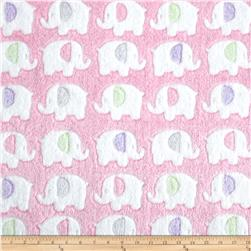Double-Sided Minky Fleece Elephant Pink