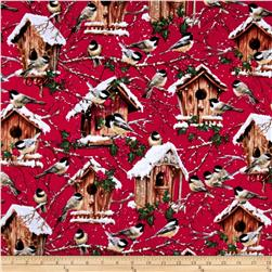 Timeless Treasures Flannel Birds Red