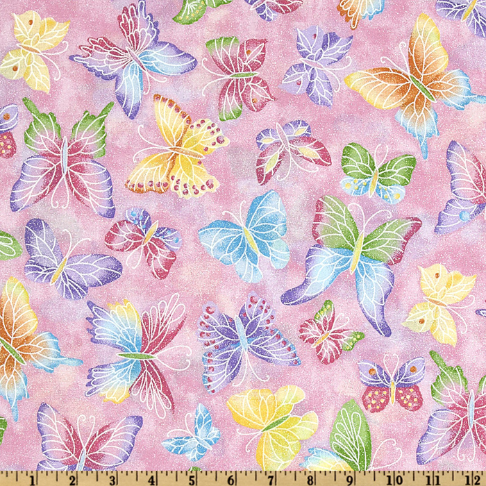 Tossed Butterflies Pink Fabric
